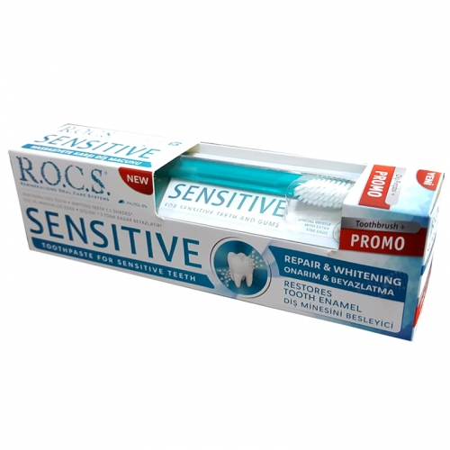 ROCS Sensitive Repair and Whitening Diş Macunu 75ml | Diş Fırçası HEDİYE