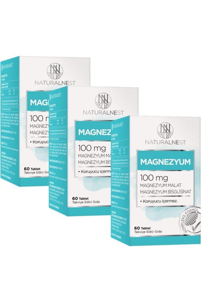 3 kutu magnezyum takviye edici gida 60 tablet 100mg 176 Natural Nest Magnezyum Takviye Edici Gıda 60 Tablet 100mg 3 Kutu Dermologue