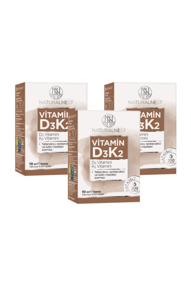 vitamin d3 k2 damla 10 ml takviye edici gida 3 kutu 1134 Natural Nest Vitamin D3 K2 Damla 10 Ml Takviye Edici Gıda 3 Kutu Dermologue