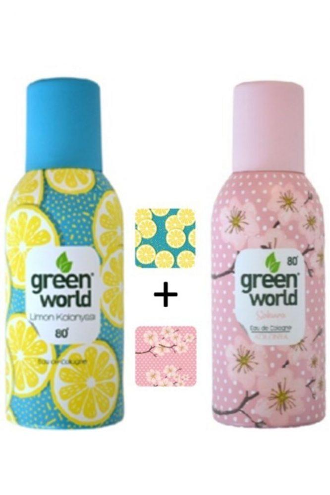 aerosol sprey kolonya limon sakura 80 derece 150 ml x 2 adet 2 li 4548 1 Green World Sprey Kolonya Limon + Sakura 80 Derece 150 ml x 2 Adet 2'li Dermologue
