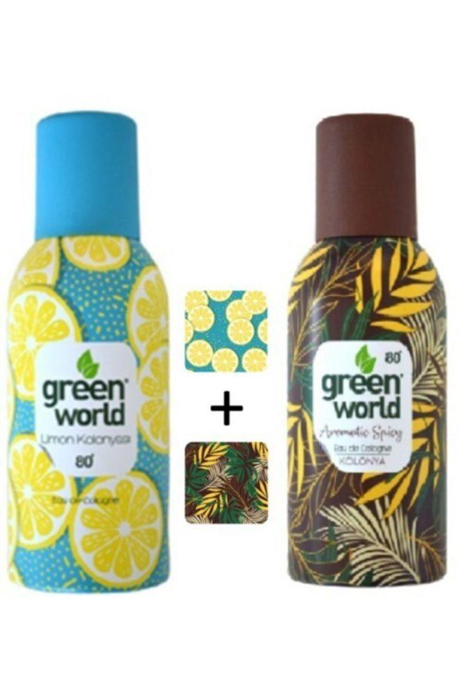 limon aromatic spicy aerosol sprey kolonya 2 li 80 derece 150 ml x 2 adet 4590 Green World Limon + Aromatic Spicy Aerosol Sprey Kolonya 2'li 80 Derece 150 ml x 2 Adet Dermologue