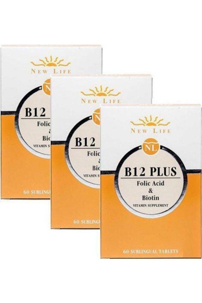 newlife b12 plus 60 dilalti tablet 3 adet b12 vitamini folik asit skt 12 2022 3866 Newlife B12 Plus 60 Dilaltı Tablet 3 Adet b12 Vitamini Folik Asit Dermologue