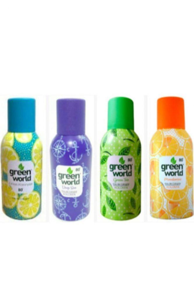 sprey kolonya seti 4567 Green World Sprey Kolonya 150ML 4 farklı aroma tek paket Dermologue
